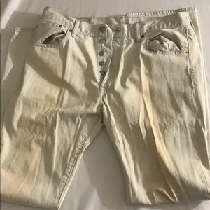 Levi 501 white denim jeans